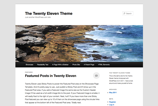 WordPress' nye standardtema Twenty Eleven.