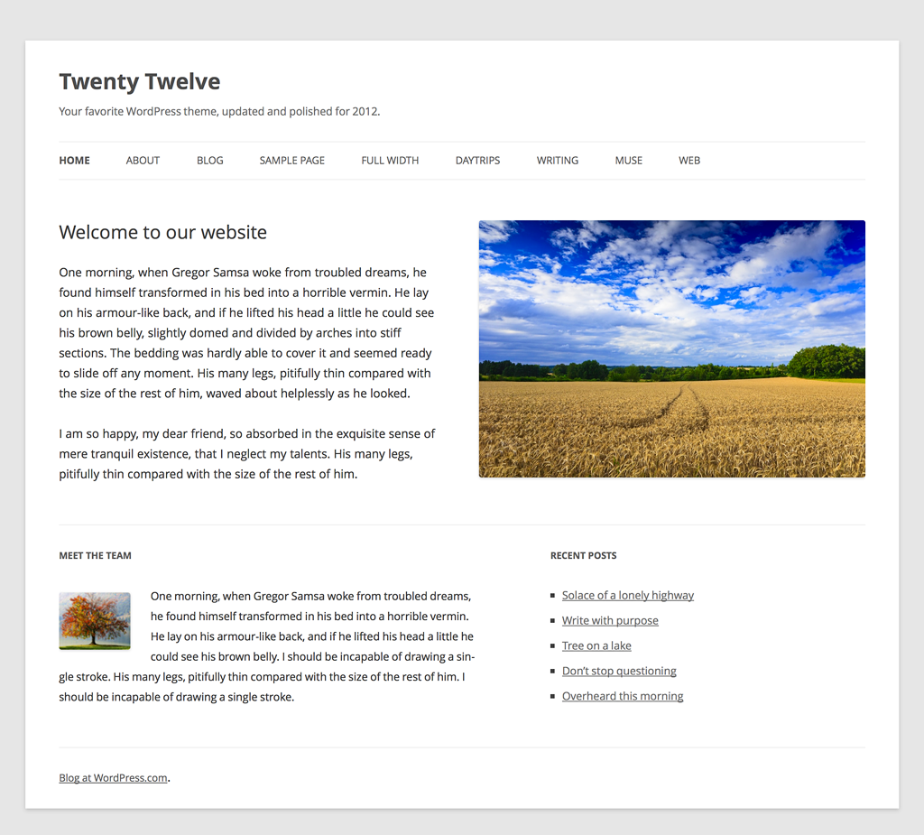 WordPress' nye standardtema Twenty Twelve
